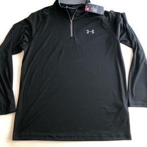 NEW 1/4 Pull Over LOGO Heatgear Solid BLACK Loose